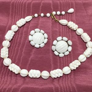 Vintage Milk Glass Earrings and Necklace Set